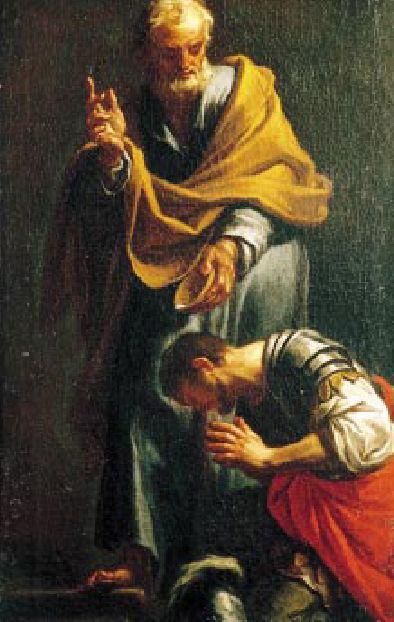 Peter baptizes Cornelius.